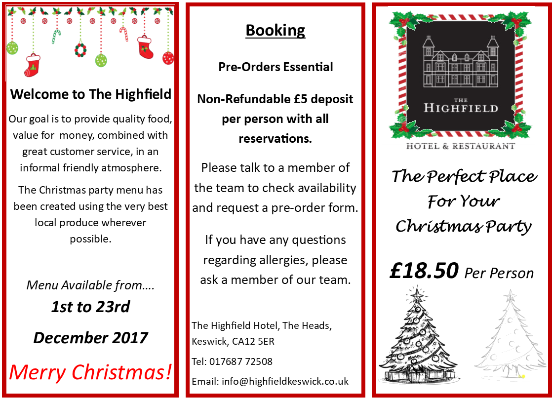 Christmas Part Leaflet Highfield Front